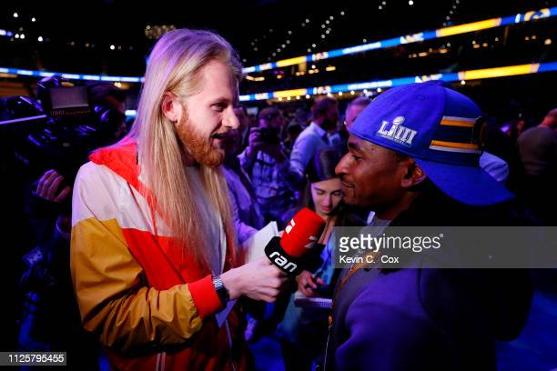 Nickell RobeyColeman of the Los Angeles Rams answers questions during Super Bowl LIII Opening Night at State Farm Arena on January 28 2019 in Atlanta...