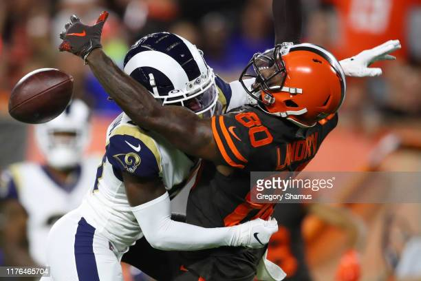 Nickell RobeyColeman of the Los Angeles Rams defends a second quarter pass intended for Jarvis Landry of the Cleveland Browns at FirstEnergy Stadium...