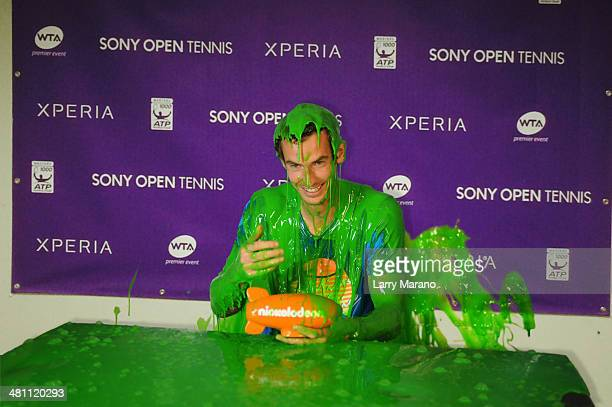 Nickelodeon slimes Andy Murray as he receives honorary Kids' Choice Award airing on Sunday 30th March at 5pm on Nickelodeon during the Sony Open at...