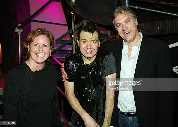Nickelodeon TV president Cyma Zarshomi actor Mike Myers and president Nickelodeon Networks Herb Scannell pose backstage during Nickelodeon's 17th...