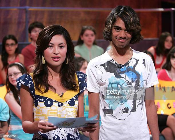 Nickelodeon's METV Hostess Alexandra Gizela speaks with American Idol Sanjaya Makalar who appears on Nick's METV to get slimed on April 23 2007 in...