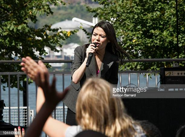 Nickelodeon's Miranda Cosgrove performs during Nickelodeon's Annual Worldwide Day of Play at NYC Big Brothers Big Sisters RBC Race for the Kids Event...