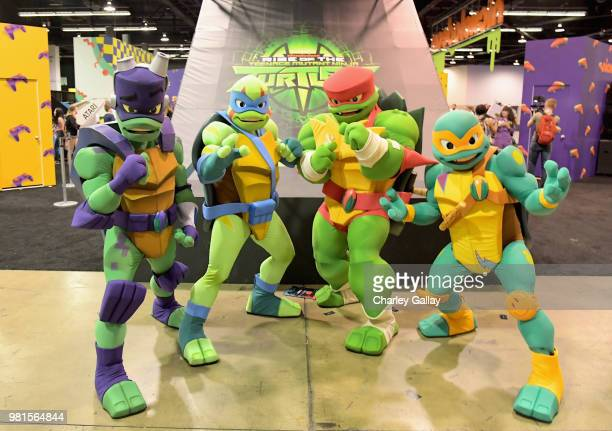 Nickelodeon's 'Rise of the Teenage Mutant Turtles' costumed characters at Nickelodeon's booth at 2018 VidCon at Anaheim Convention Center on June 22...