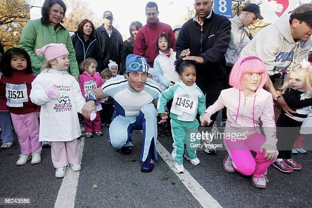 Nickelodeon's Sportacus and Stephanie attend Lazy Town Race in Central Park on November 20 2005 in New York City