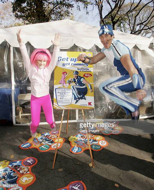 Nickelodeon's Sportacus and Stephanie pose at Lazy Town Race In Central Park on November 20 2005 in New York City