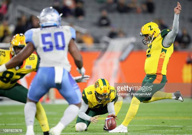 Nick Folk of the Arizona Hotshots attempts an unsuccessful field goal during the third quarter of the Alliance of American Football game against the...