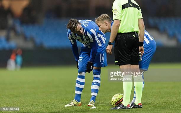 Nicki Bille Nielsen of Esbjerg fB and Lasse Rise of Esbjerg fB in action during the Danish Alka Superliga match between Esbjerg fB and Sonderjyske at...