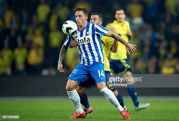 Nicki Bille Nielsen of Esbjerg fB and Riza Durmisi of Brondby IF compete for the ball during the Danish Alka Superliga match between Brondby IF and...