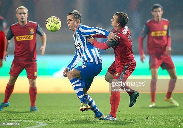 Nicki Bille Nielsen of Esbjerg fB and Stanislav Lobotka of FC Nordsjalland compete for the ball during the Danish Alka Superliga match between...
