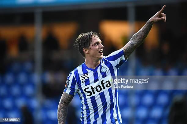 Nicki Bille Nielsen of Esbjerg fB celebrates after scoring their second goal during the Danish Alka Superliga match between Esbjerg fB and OB Odense...