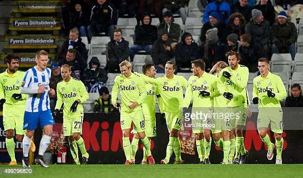 Nicki Bille Nielsen of Esbjerg fB celebrates after scoring their first goal during the Danish Alka Superliga match between OB Odense and Esbjerg fB...