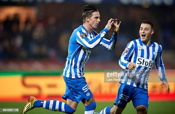 Nicki Bille Nielsen of Esbjerg fB celebrates with Casper Nielsen after scoring their first goal during the Danish Alka Superliga match between...