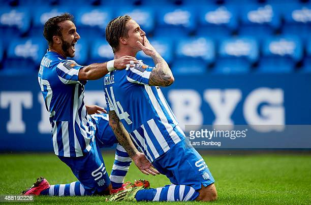 Nicki Bille Nielsen of Esbjerg fB celebrates with Mohammed Fellah after scoring their second goal during the Danish Alka Superliga match between...
