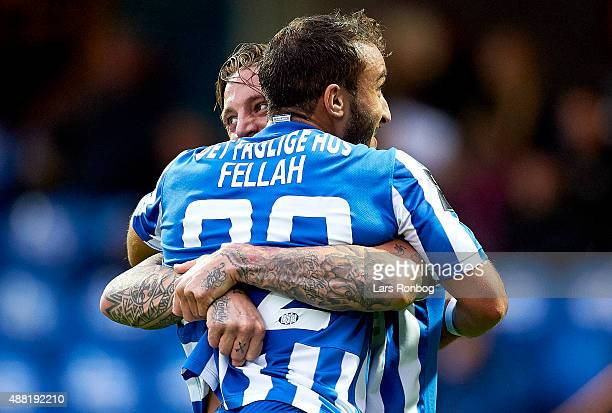 Nicki Bille Nielsen of Esbjerg fB celebrates with Mohammed Fellahafter scoring their second goal during the Danish Alka Superliga match between...