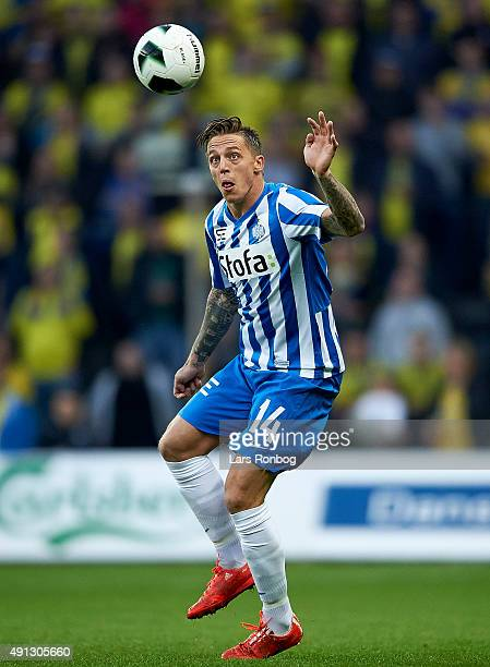 Nicki Bille Nielsen of Esbjerg fB controls the ball during the Danish Alka Superliga match between Brondby IF and Esbjerg fB at Brondby Stadion on...