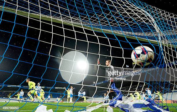 Nicki Bille Nielsen of Esbjerg fB scores the 10 goal against Goalkeeper Maksym Koval of OB Odense during the Danish Alka Superliga match between OB...