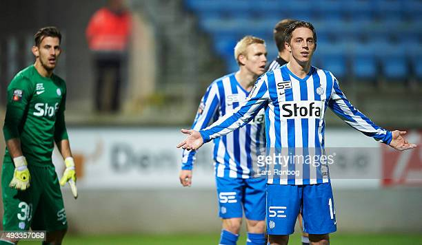 Nicki Bille Nielsen of Esbjerg fB shows frustration during the Danish Alka Superliga match between Esbjerg fB and AaB Aalborg at Blue Water Arena on...