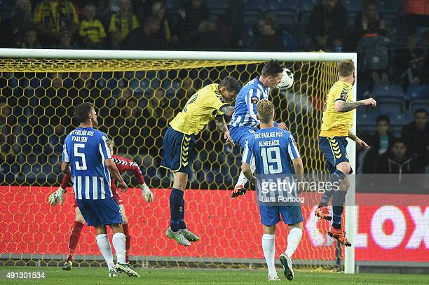 Nicki Bille Nielsen of Esbjerg fB with a header competing with Daniel Agger of Brondby IF during the Danish Alka Superliga match between Brondby IF...