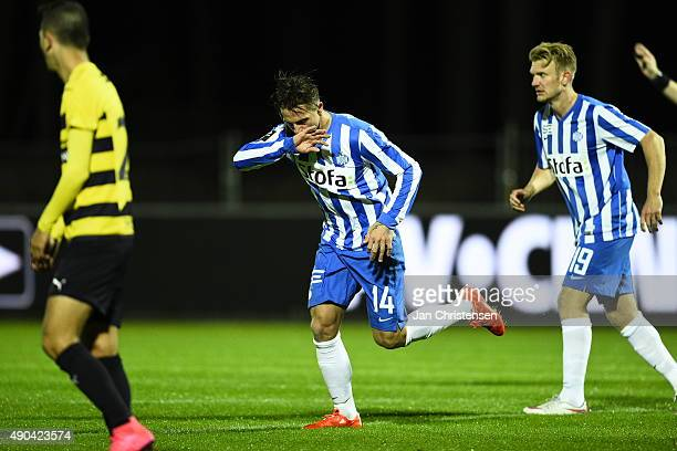 Nicki Bille of Esbjerg fB celebrate after his 21 goal during the Danish Alka Superliga match between Hobro IK and Esbjerg fB at DS Arena on September...