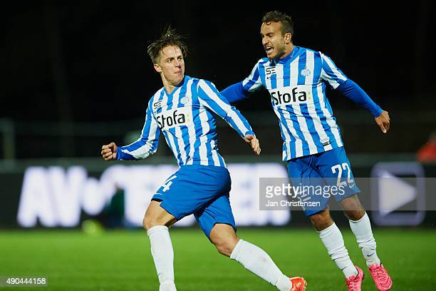 Nicki Bille of Esbjerg fB celebrate after his 21goal during the Danish Alka Superliga match between Hobro IK and Esbjerg fB at DS Arena on September...