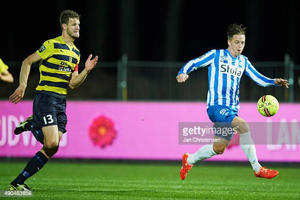 Nicki Bille of Esbjerg fB controls the ball during the Danish Alka Superliga match between Hobro IK and Esbjerg fB at DS Arena on September 28 2015...