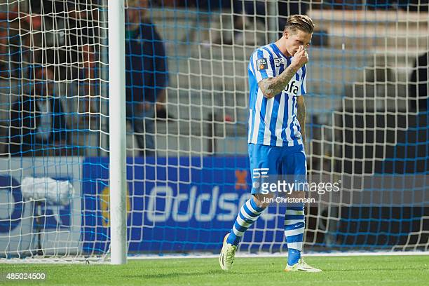 Nicki Bille of Esbjerg fB looks dejected during the Danish Alka Superliga match between Esbjerg fB and FC Midtjylland at Blue Water Arena on August...