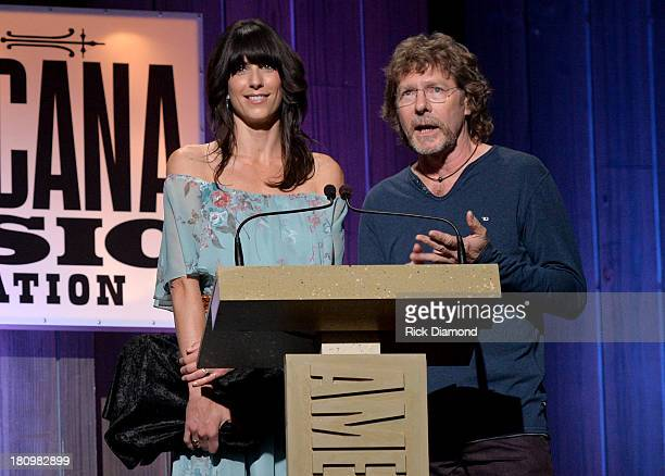 Nicki Bluhm and Sam Bush present the Artist of the Year Award at the 12th Annual Americana Music Honors And Awards Ceremony Presented By Nissan on...