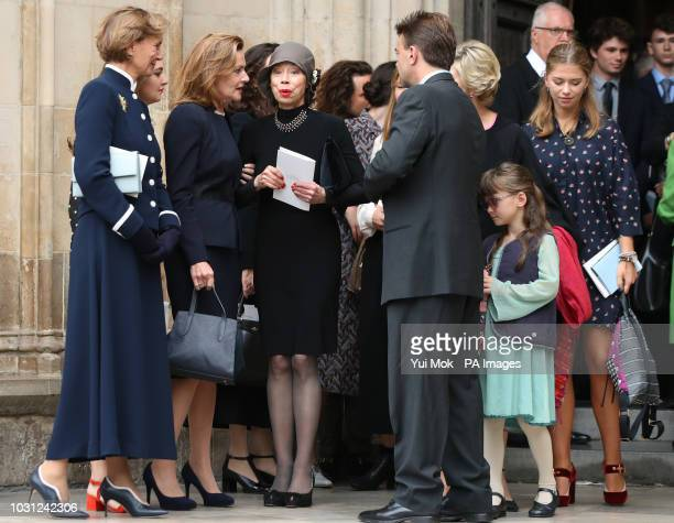 Nicki Frei widow of former director of the National Theatre Sir Peter Hall stands with his former wife Maria Ewing and other family and friends after...
