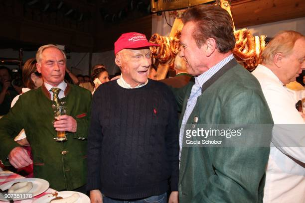 Nicki Lauda and Arnold Schwarzenegger during the 27th Weisswurstparty at Hotel Stanglwirt on January 19 2018 in Going near Kitzbuehel Austria