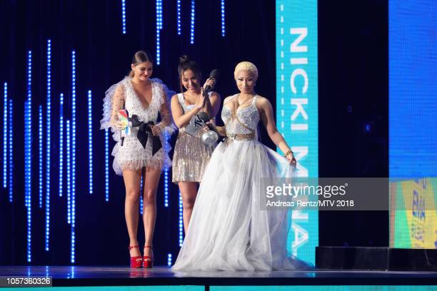 Nicki Minaj accepts the Best Hip Hop award during the MTV EMAs 2018 at Bilbao Exhibition Centre on November 4 2018 in Bilbao Spain