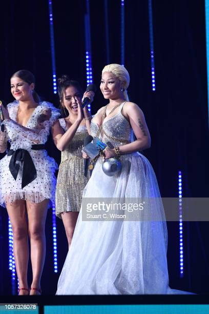 Nicki Minaj accepts the Best Hip Hop award on stage during the MTV EMAs 2018 at Bilbao Exhibition Centre on November 4 2018 in Bilbao Spain