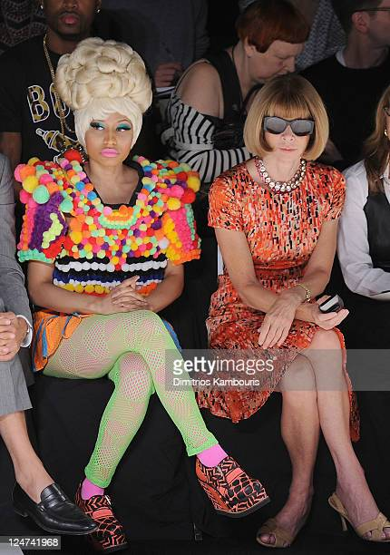 Nicki Minaj and Anna Wintour attend the Carolina Herrera Spring 2012 fashion show during Mercedes-Benz Fashion Week at The Theater at Lincoln Center...