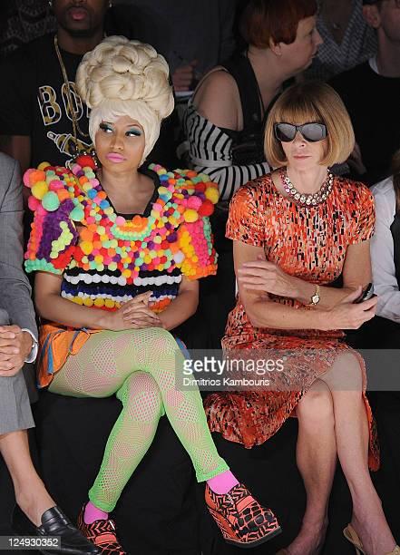 Nicki Minaj and Anna Wintour attend the Carolina Herrera Spring 2012 fashion show during MercedesBenz Fashion Week at The Theater at Lincoln Center...