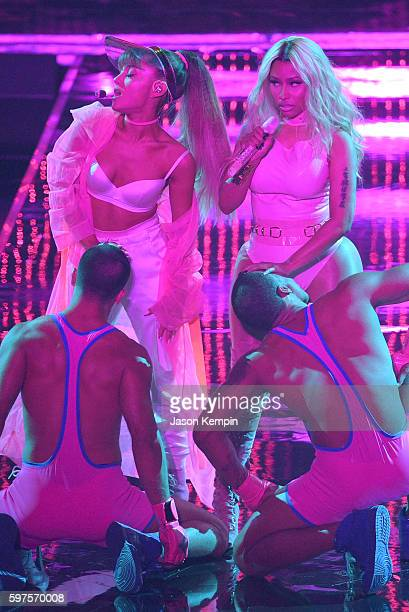 Nicki Minaj and Ariana Grande perform onstage during the 2016 MTV Video Music Awards at Madison Square Garden on August 28 2016 in New York City