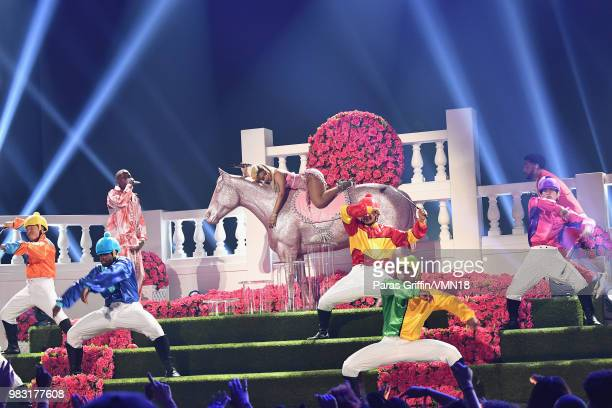 YG Nicki Minaj and Big Sean perform onstage at the 2018 BET Awards at Microsoft Theater on June 24 2018 in Los Angeles California