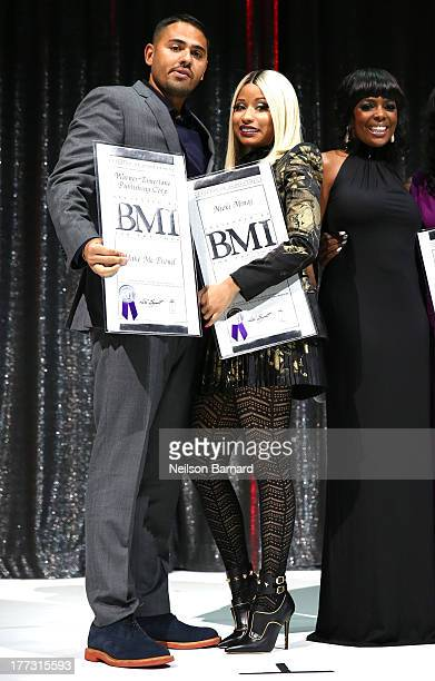 Nicki Minaj and BMI Vice President Catherine Brewton onstage at the 2013 BMI RB/HipHop Awards at Hammerstein Ballroom on August 22 2013 in New York...