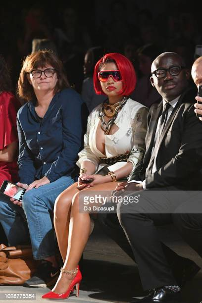 Nicki Minaj and Edward Enninful attend the Monse front row during New York Fashion Week The Shows at SIR Stage 37 on September 7 2018 in New York City