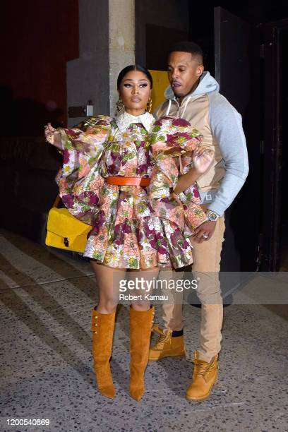 Nicki Minaj and husband Kenneth Petty seen at a Marc Jacobs NYFW event in Manhattan on February 12 2020 in New York City
