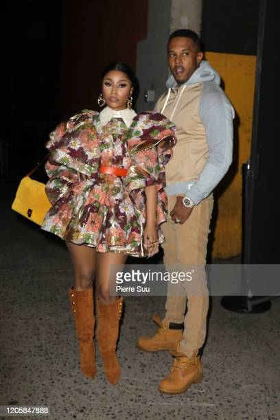 Nicki Minaj and Kenneth Petty are seen arriving at the Marc Jacobs show during the New York fashion week on February 12 2020 in New York City
