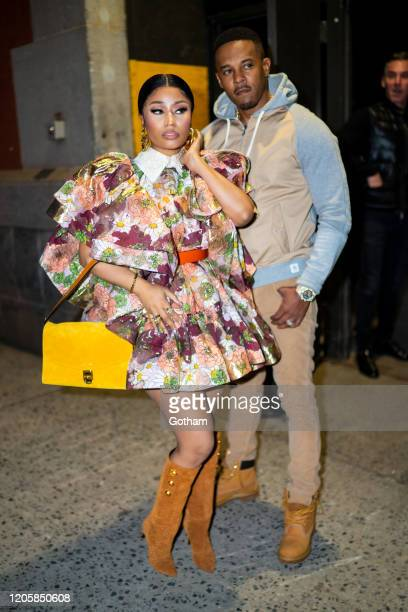 Nicki Minaj and Kenneth Petty arrive at the Marc Jacobs fashion show at the Park Avenue Armory on February 12, 2020 in New York City.