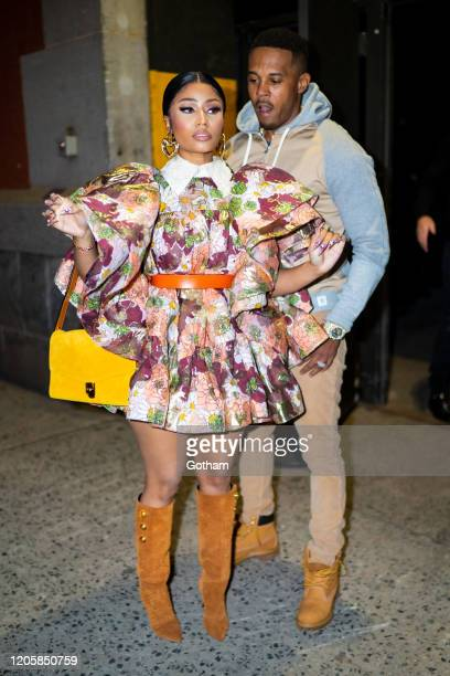 Nicki Minaj and Kenneth Petty arrive at the Marc Jacobs fashion show at the Park Avenue Armory on February 12 2020 in New York City