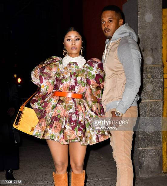 Nicki Minaj and Kenneth Petty arrive to the Marc Jacobs fashion show at Park Avenue Armory on February 12 2020 in New York City