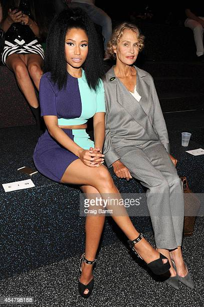 Nicki Minaj and Lauren Hutton attend the Alexander Wang fashion show during MercedesBenz Fashion Week Spring 2015 at Pier 94 on September 6 2014 in...