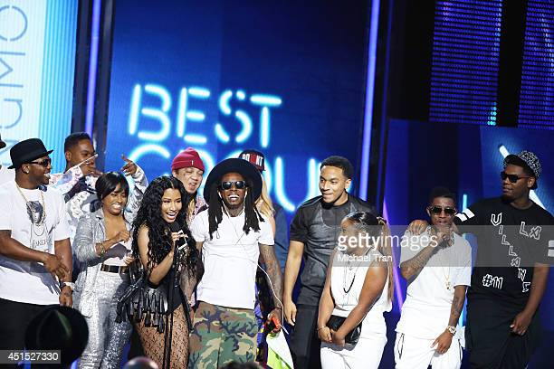 Nicki Minaj and Lil Wayne of Young Money speak onstage during the BET AWARDS 14 held at Nokia Theater LA LIVE on June 29 2014 in Los Angeles...