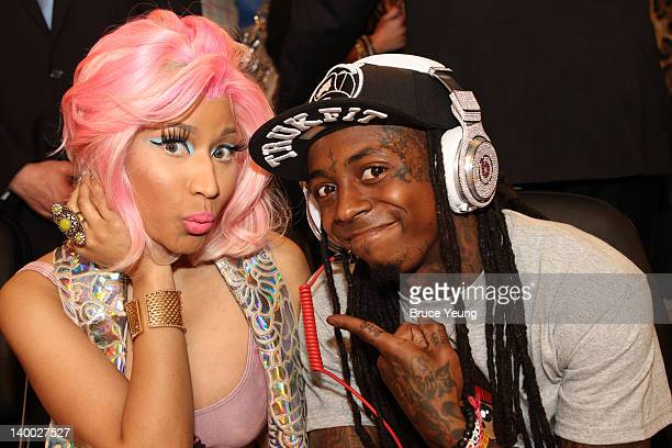 Nicki Minaj and Lil Wayne pose for a photo during the 2012 NBA AllStar Game presented by Kia Motors as part of 2012 AllStar Weekend at the Amway...