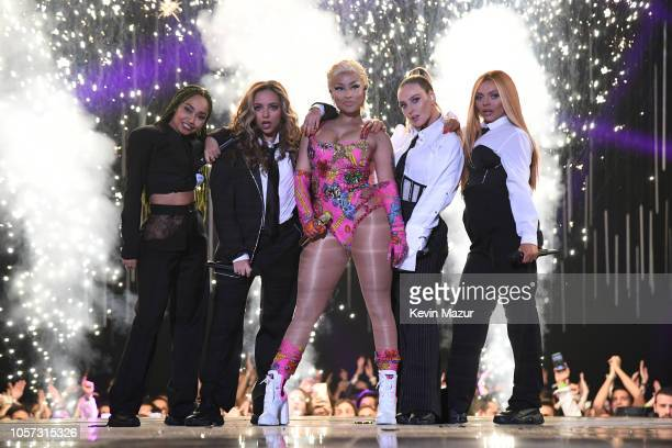 Nicki Minaj and Little Mix perform on stage during the MTV EMAs 2018 at Bilbao Exhibition Centre on November 4 2018 in Bilbao Spain
