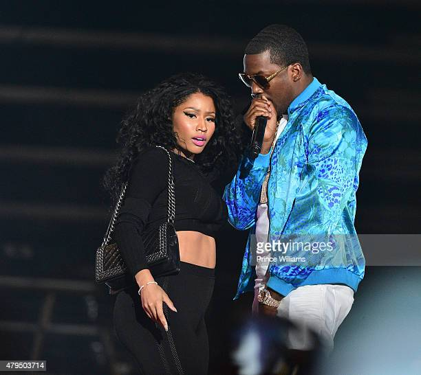 Nicki Minaj and Meek Mill attend Hot 1079 Birthday Bash Block Show at Philips Arena on June 20 2015 in Atlanta Georgia