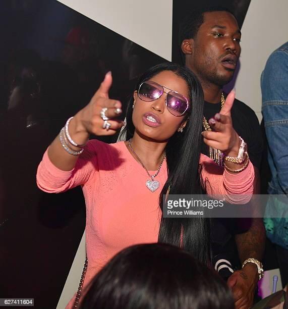 Nicki Minaj and Meek Mill attend Meek Mills album Release Party at Gold Room on December 3 2016 in Atlanta Georgia