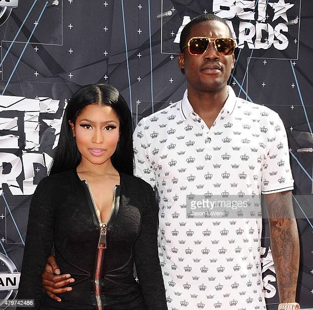 Nicki Minaj and Meek Mill attend the 2015 BET Awards at the Microsoft Theater on June 28 2015 in Los Angeles California