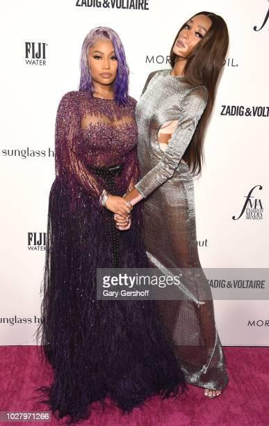 Nicki Minaj and winner of the Breakthrough Model award Winnie Harlow attend the Daily Front Row's 2018 Fashion Media Awards at Park Hyatt New York on...